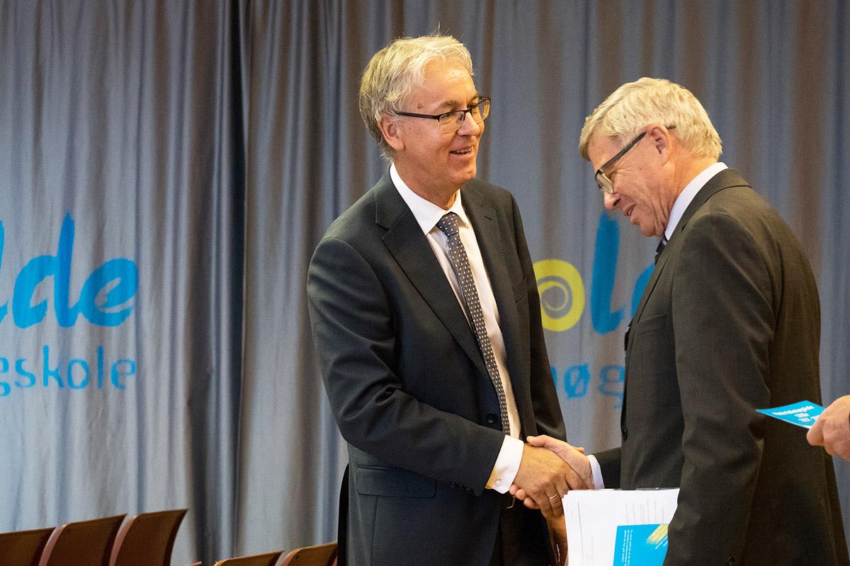 Rektor Helge Kjøll og Kjell Magne Bondevik
